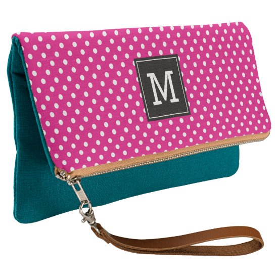 Cute pink and turquoise custom monogram clutch bag