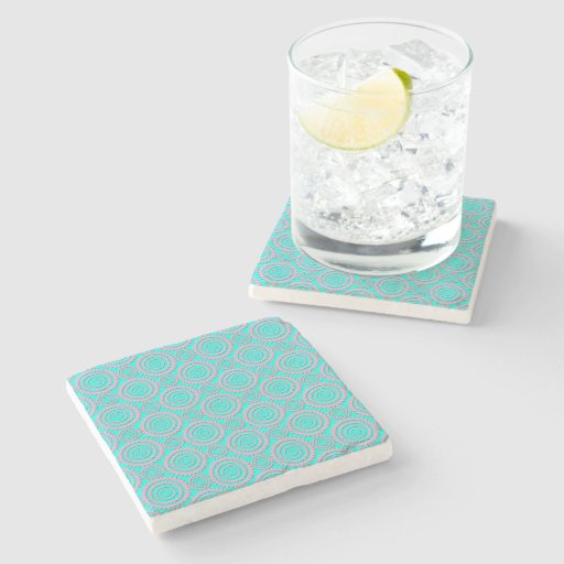 Cute Pink and Turquoise Geometric Pattern Stone Coaster ...