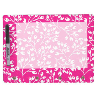 Cute pink and white autumn berries dry erase board with keychain holder