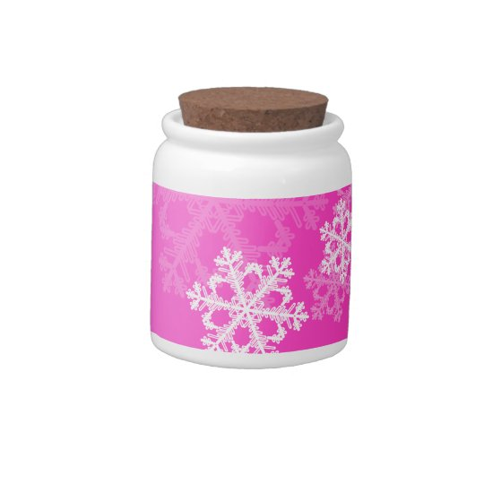 Cute pink and white Christmas snowflakes Candy Dishes