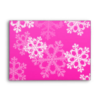 Cute pink and white Christmas snowflakes Envelopes