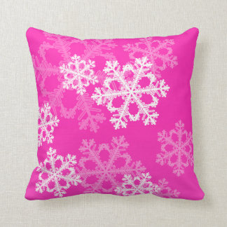 Cute pink and white Christmas snowflakes Pillow