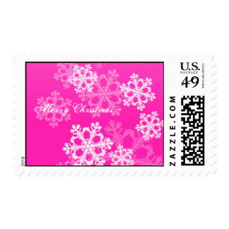 Cute pink and white Christmas snowflakes Postage Stamp