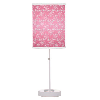 Cute Pink and White Curlie Cues Pattern Lamp