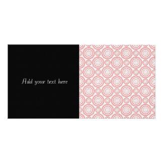 Cute Pink and White Geometric Circles Pattern Photo Card