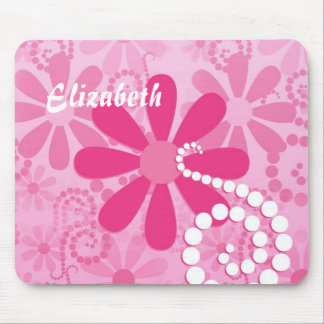 Cute Pink and White Girly Flowers Daisy Pattern Mouse Pad