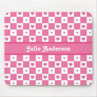 Cute Pink and White Heart Pretty Squares With Name Mouse Pad