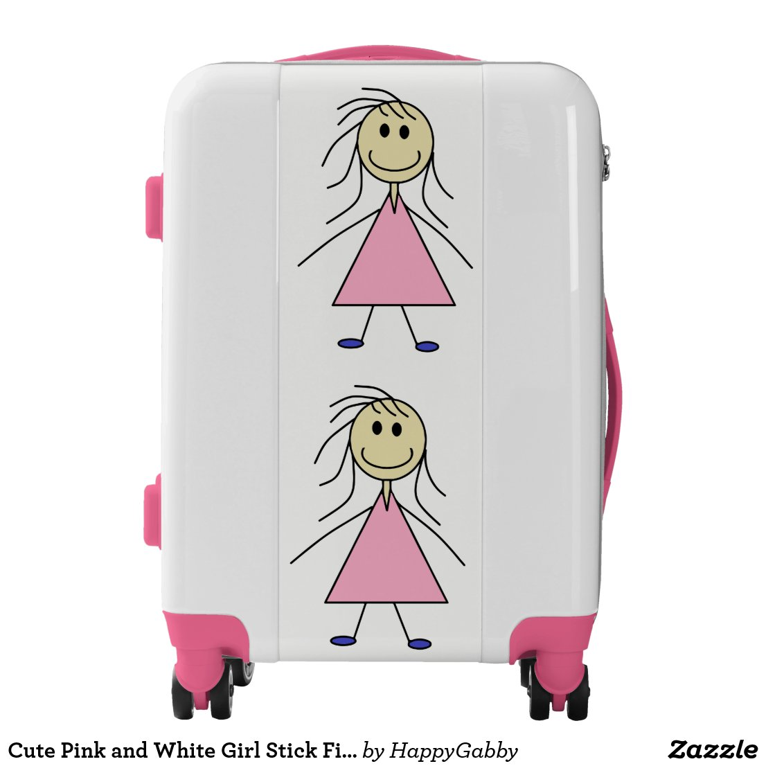 Pink and White Girl Stick Figures Luggage