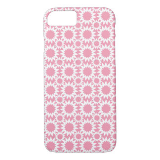 Cute Pink and White Star Flower Pattern iPhone 7 Case