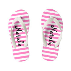 Cute Pink And White Stripe Personalized Kid's Flip Flops at Zazzle