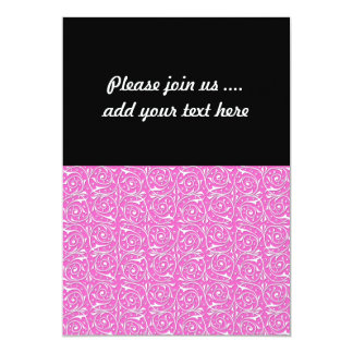 Cute Pink and White Swirling Vines Pattern 5x7 Paper Invitation Card