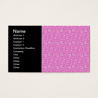Cute Pink and White Swirling Vines Pattern Business Card