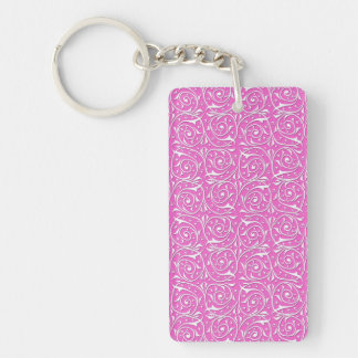 Cute Pink and White Swirling Vines Pattern Keychain