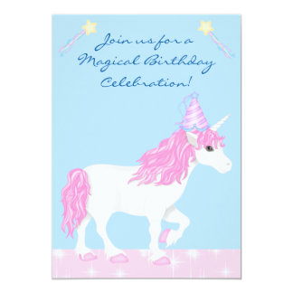 Cute Pink and White Unicorn Girls Magical Birthday 5x7 Paper Invitation Card