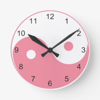 Cute Pink and White Yin and Yang Symbol Round Clock