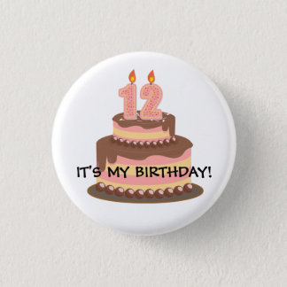 Cute Pink and Yellow 12TH Birthday Personalized Button