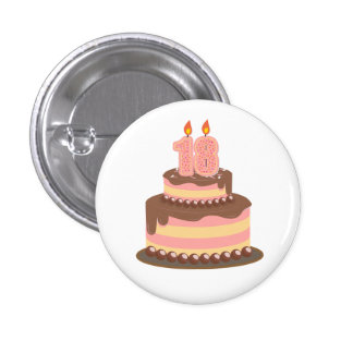 Cute Pink and Yellow 18th Birthday Button