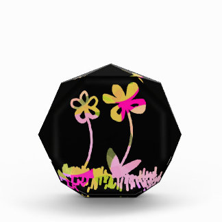 Cute Pink and Yellow Flower Doodles Acrylic Award