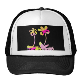 Cute Pink and Yellow Flower Doodles Hats