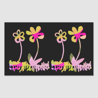Cute Pink and Yellow Flower Doodles Rectangular Sticker
