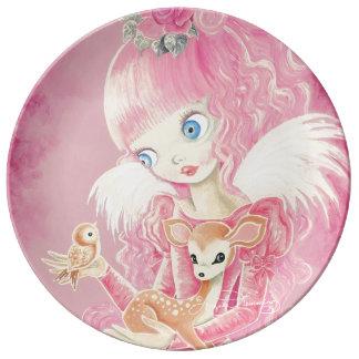 Cute Pink Angel Dinner Plate