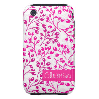 Cute pink autumn berries iPhone 3 tough case