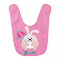 Cute Pink Baby Bib with Bunny and Umbrella