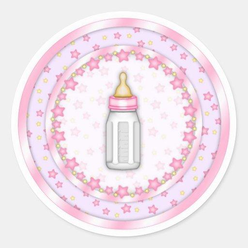 Cute Pink Baby Bottle Seals Classic Round Sticker