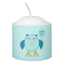 Cute Pink Baby Boy Owl Votive Candle