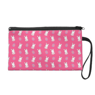 Cute pink baby bunny easter pattern wristlet purse