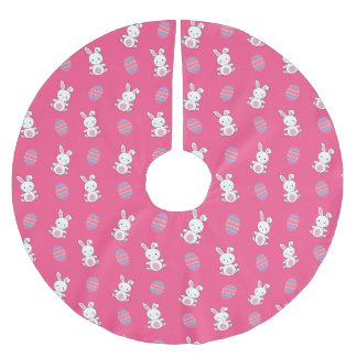Cute pink baby bunny easter pattern brushed polyester tree skirt