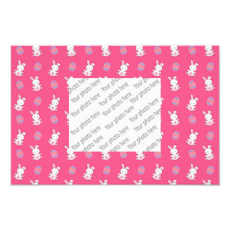 Cute pink baby bunny easter pattern photo print