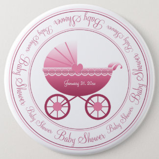 Cute Pink Baby Carriages Button