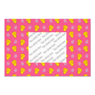 Cute pink baby chick easter pattern photographic print