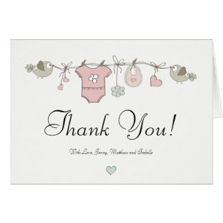 Cute Pink Baby Clothes | Baby Shower Thank You Card
