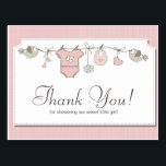 "Cute Pink Baby Clothes | Baby Shower Thank You Postcard<br><div class=""desc"">Send out this beautiful thank you card to all your guest from the baby shower 