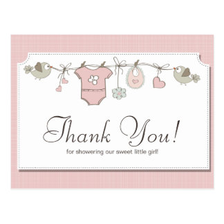 Cute Pink Baby Clothes | Baby Shower Thank You Postcard