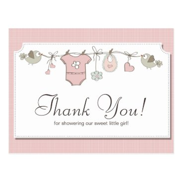 Toddler & Baby themed Cute Pink Baby Clothes | Baby Shower Thank You Postcard