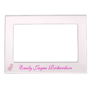Cute pink baby duckling custom girls name magnetic picture frame