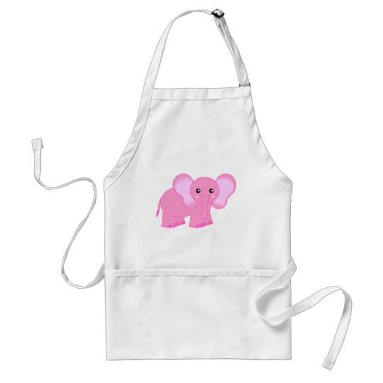 Cute Pink Baby Elephant Adult Apron