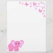 Cute Pink Baby Elephant And Butterflies Letterhead