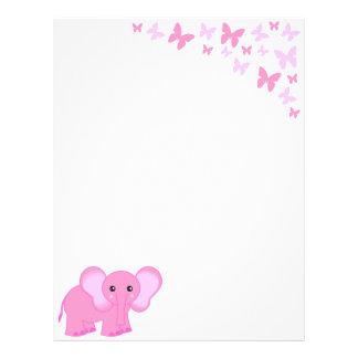 Cute Pink Baby Elephant And Butterflies Letterhead