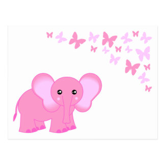 Cute Pink Baby Elephant And Butterflies Postcard