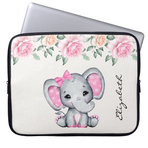 Cute Pink Baby Elephant and Roses Border Laptop Sleeve