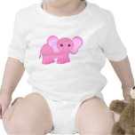 Cute Pink Baby Elephant Baby Bodysuits