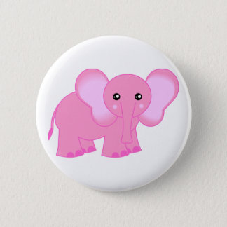 Cute Pink Baby Elephant Button