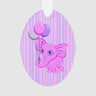 Cute Pink Baby Elephant Holding Shiny Balloons