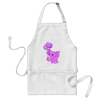 Cute Pink Baby Elephant Holding Shiny Balloons Adult Apron