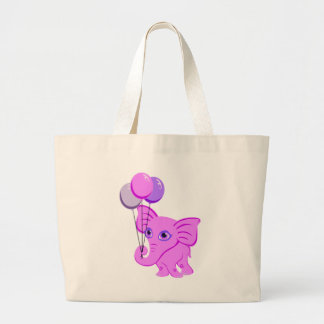 Cute Pink Baby Elephant Holding Shiny Balloons Bag