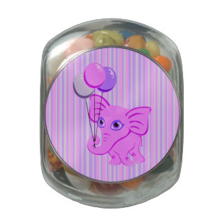 Cute Pink Baby Elephant Holding Shiny Balloons Jelly Belly Candy Jar
